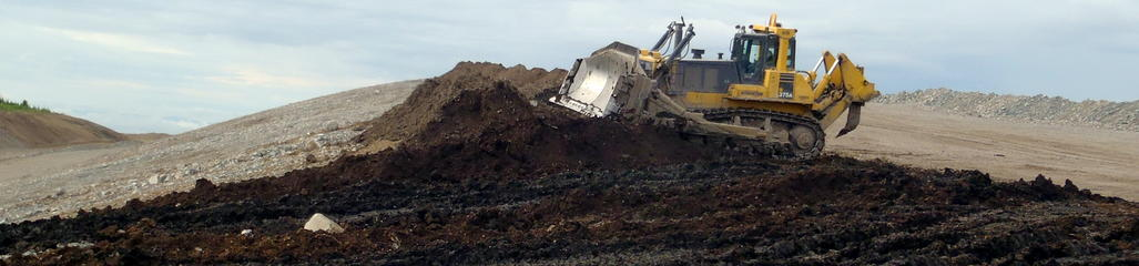 A reclamation soil fabricated with biosolids is applied at a mine in Northern British Columbia, Canada.